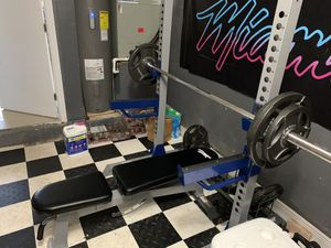 Half squat rack/ weights and bench for Sale in Plantation, FL
