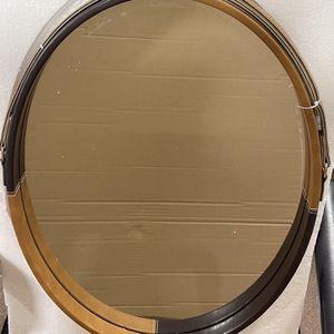 New. Oval Mirror with Modern brown and black leather Frame, (LS) for Sale in Pomona, CA
