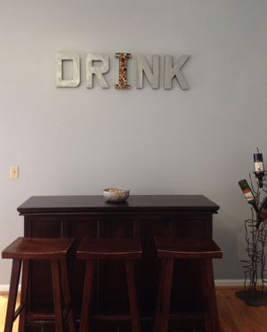 Industrial Metal Drink Sign - Letter wall art sign for bar for Sale in Chicago, IL