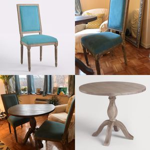 Pedestal dining set for 2 - drop leaf table and 2 velvet microfiber chairs for Sale in NJ, US