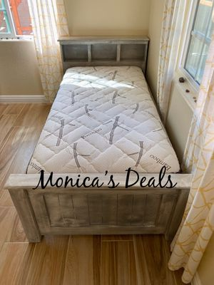 Twin solid wood bed & bamboo mattress $260 for Sale in Norwalk, CA
