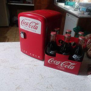 Vintage Coke Bottle And Coke Mini Fridge for Sale in Portland, OR