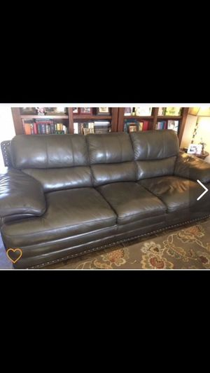 Gray leather couch for Sale in Benjamin, UT