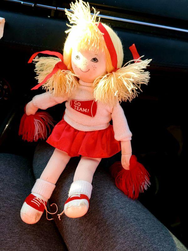 Russ Berrie Vintage Cheerleader Doll Go Team Girl Gift Vtg Blonde Cheer Yarn