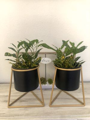 TWO New medal plant/flower pot planters with metal stand. for Sale in Los Angeles, CA