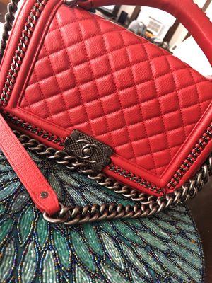 Red Chanel Boy Bag Designer Handbag for Sale in New Haven, CT