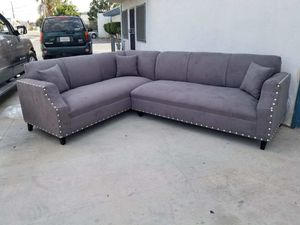 NEW 7X9FT CHARCOAL MICROFIBER SECTIONAL COUCHES for Sale in Clovis, CA