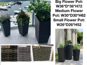 3 piece rattan flower pot planter patio furniture for Sale in Fort Lauderdale, FL