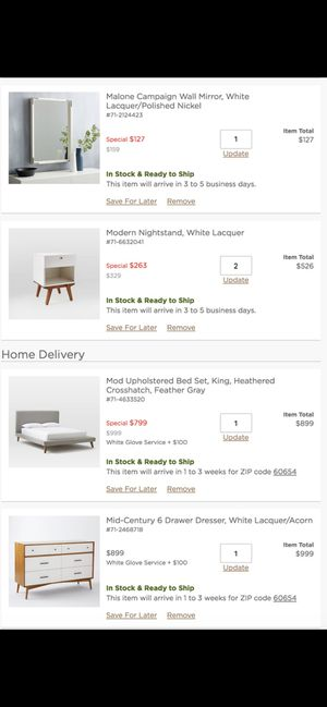 5 Pic Modern Bedroom Set for Sale in Chicago, IL