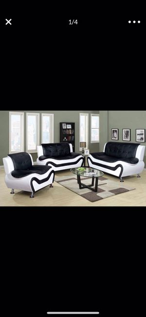Modern style black and white leather three piece couch set for Sale in Vancouver, WA