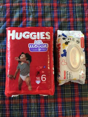 Size 6 HUGGIES and wipes 😊 for Sale in Everett, WA