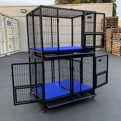 """$330 new (Set of 2) Stackable Dog Cage 41x31x65"""" Heavy Duty Kennel w/ Plastic Tray for Sale in El Monte,  CA"""