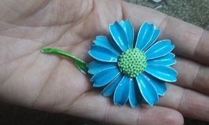 Vintage blue enamel flower brooch pin for Sale in Tullahoma, TN