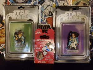 Disney - Star Wars: Han Solo and Princess Leia Pin Sets. 2 Pin Sets/4 pins total for Sale in Rancho Cucamonga, CA