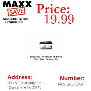Snapware pure Pyrex 18-piece glass food storage set for Sale in Cedar Hill, TX