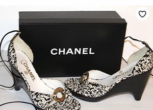 Authentic Chanel Black and White Wedge Heels Sandals for Sale in Jupiter, FL