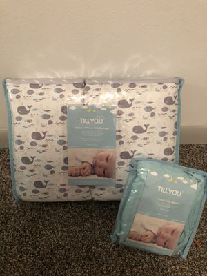 TillYou baby bumper whale and fitted sheet for Sale in Moville, IA