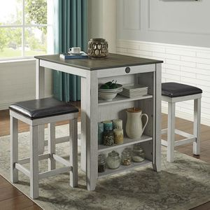 3pcs Counter Height Small Dining Set ( 2 colors available) USB port on table for Sale in Hacienda Heights, CA