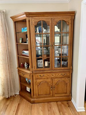 Vintage Antique China Display Wood / Glass Curio Corner Cabinet Shelf for Sale in Glen Ellyn, IL