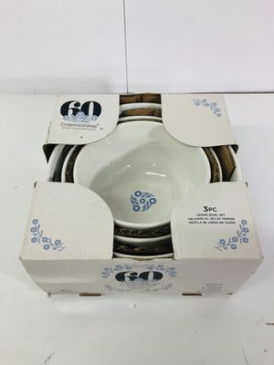 CorningWare Mixing Bowl Set of 3 Piece Round Stoneware White Microwave Safe Blue for Sale in Houston, TX