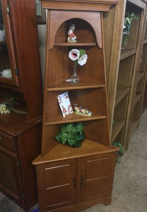 Maple corner curio cabinet open shelving for Sale in Front Royal, VA