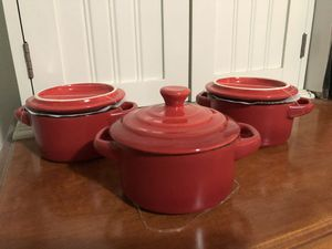 Set of 3 ceramic mini cocottes for Sale in West Covina, CA