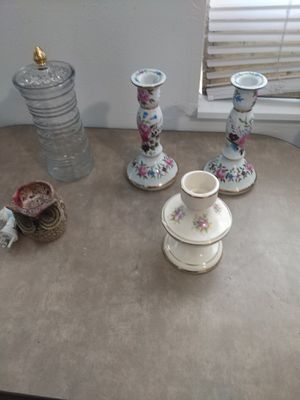Rose candle holders and incenter for Sale in Klamath Falls, OR