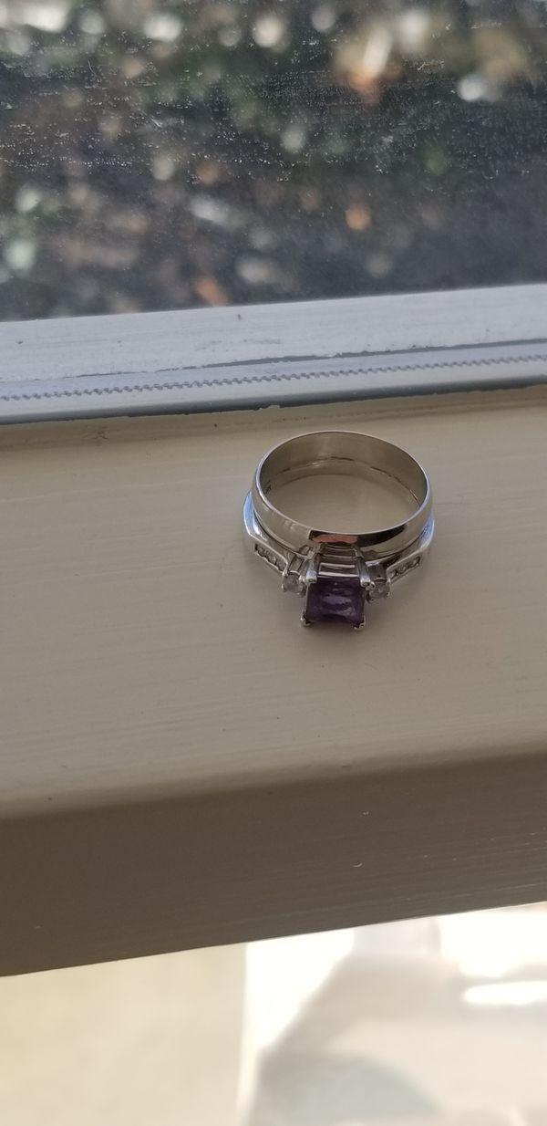 10kt Gold Amethyst Wedding Set rings