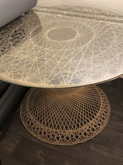 Boho Peacock Rattan Round Dining Table with Glass Top for Sale in Smyrna,  GA