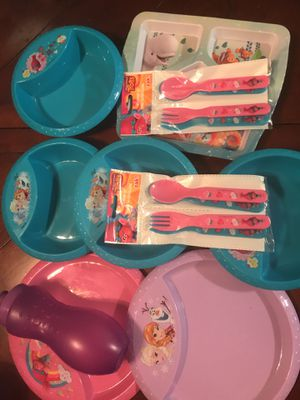 Girls plates bowls spoons forks (all for 10.00) for Sale in Dallas, TX