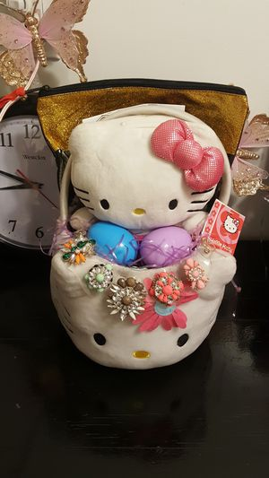 Hello kitty Easter basket gift hello kitty plush bank coin bank Easter for Sale in City of Industry, CA