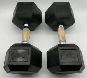 (2) CAP 40 LB Dumbbell Pair Rubber Coated Hex Dumbbells Weights Set 80 LB TOTAL for Sale in Tacoma, WA