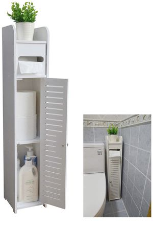 Small Bathroom Storage Corner Floor Cabinet with Doors and Shelves, Thin Toilet Vanity Cabinet, Narrow Bath Sink Organizer, Towel Storage Shelf for P for Sale in Tempe, AZ
