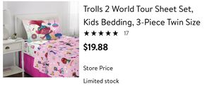 Troll world tour twin sheet set for Sale in Westminster, CA