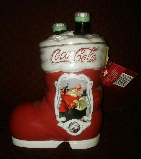 coke Santa boot cookie jar never open
