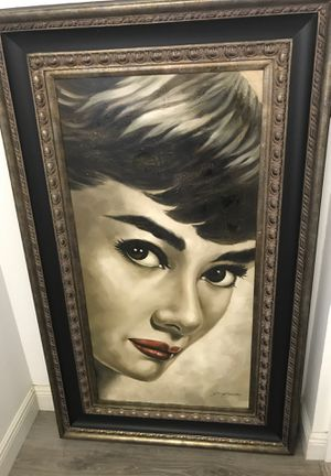 Audrey Hepburn painting with elegant frame for Sale in Boynton Beach, FL