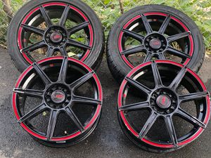 17 inch Mach 3 Red and Black Rims for Sale in Boston, MA