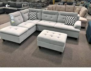 New Grey Sectional Couch with ottoman only $50 down for Sale in Los Angeles, CA