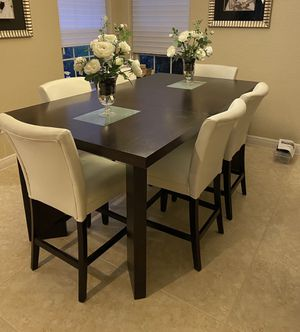 Bar height dining room table with chairs and leaf for Sale in Delray Beach, FL