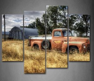 Canvas Wall Art Red Truck Retro 4 Panel Living Room Home Office Decoration for Sale in Laurel, MD