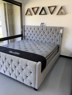 Full, Queen, King, Cal King Fabric Tufted Bed Frame - Mattress & Box Spring Available Too for Sale in Concord, CA