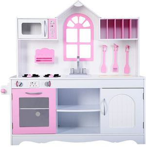 Kids wood kitchen play set pink and white for Sale in Alta Loma, CA