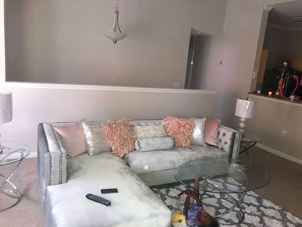 Gray sectional accessories not included