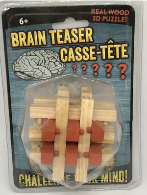 Challenge Your Mind Brain Teaser Casse-Tete Real Wood 3-D Puzzle for Sale in Marietta, GA