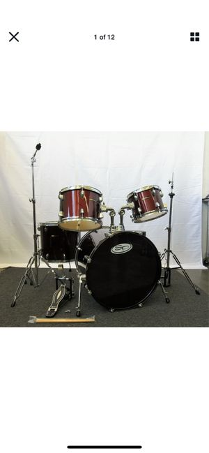 Sound Percussion 4 Piece Drum Set Wine Red w/ Hardware Pack Hi-hat, Kick, Throne for Sale in San Francisco, CA