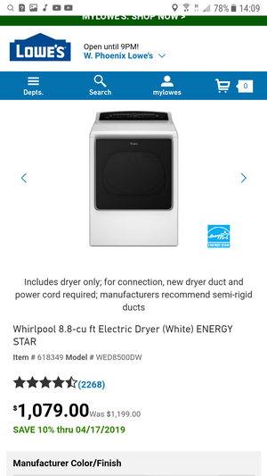 whirlpool cabrio XL electric dryer ** Warranty ** Available for pick up many washer / many dryer ( vendo lavadoras y secadoras) for Sale in Phoenix, AZ