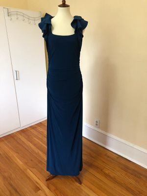 Blue evening gown with ruffled sleeves for Sale in Detroit, MI