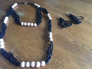 Handmade double beaded necklace with earrings from Africa for Sale in Nashville, TN