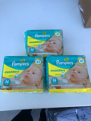 Pampers size newborn. Brand new $5 each bag. 20 diapers in each bag. Pickup Riggs and McQueen. for Sale in Chandler, AZ