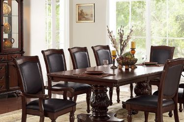 🌟🌟ONLY ONE LEFT ( 7 pc kathryn ii dark brown finish wood double pedestal dining table set with vinyl seats for Sale in Huntington Park,  CA